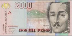 Billet de Colombie - Pick 457u - 2000 pesos - 2014