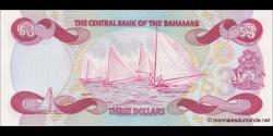 Bahamas - p44 - 3Dollars - L. 1974 (1984) - Central Bank of the Bahamas