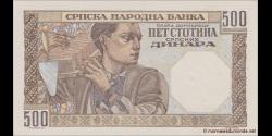Serbie - p27b - 500 Srpskih Dinara - 01.11.1941 - Srpska Narodna Banka
