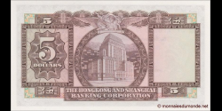 Hong Kong - p181f - 5 Dollars - 31.10.1973 - Hong Kong and Shanghai Banking Corporation