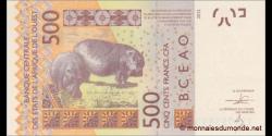 Côte d'Ivoire - p119Ab - 500francs - 2013 - Banque Centrale des États de l'Afrique de l'Ouest