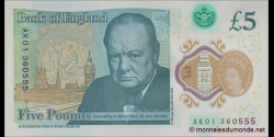 Angleterre - p394 - 5 Pounds - © 2015 - Bank of England