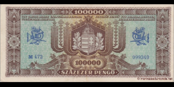 Hongrie - p121a - 100.000Pengö - 23.10.1945 - Magyar Nemzeti Bank