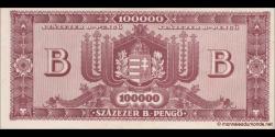 Hongrie - p133 - 100.000 B. - Pengő - 3.06.1946 - Magyar Nemzeti Bank