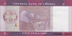 Libéria - p31a - 5 dollars - 2016 - Central Bank of Liberia