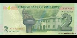 Zimbabwe - p99 - 2 Dollars - 2016 - Reserve Bank of Zimbabwe