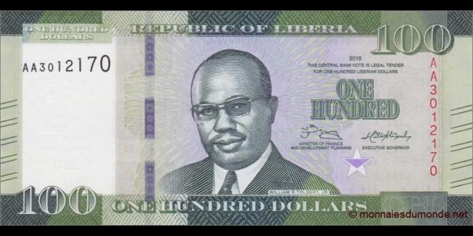 Libéria - p35a - 100 dollars - 2016