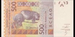 Togo - p819Tc - 500 Francs - 2014 - Banque Centrale des États de l'Afrique de l'Ouest