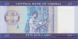 Libéria - p32a - 10 dollars - 2016 - Central Bank of Liberia