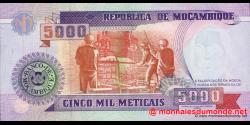 Mozambique - p136 - 5.000 Meticais - 16.06.1991 - República de Moçambique