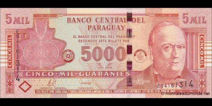 Paraguay-p223b-5000 guaranies-2008