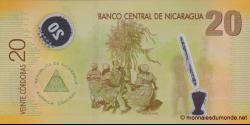 Nicaragua - p202b - 20 Córdobas - Res. 12.09.2007 - Banco Central de Nicaragua