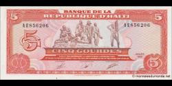 Haïti - p255 - 5 Gourdes - 1989 - Banque de la République d'Haïti