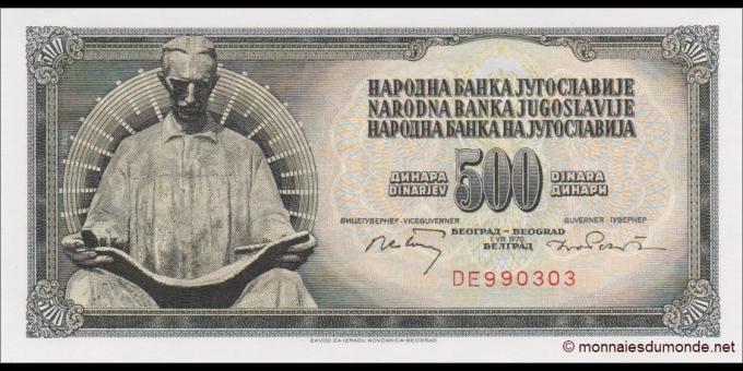 Yougoslavie - p084a - 500 Dinara / Dinarjev / Dinari - 01.08.1970 - Narodna Banka Jugoslavije / Narodna Banka na Jugoslavija