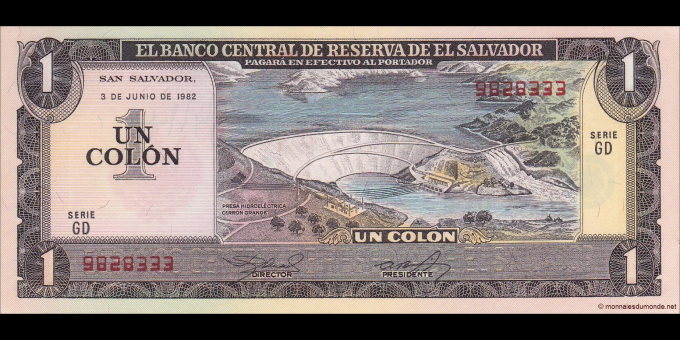Salvador - p133A - 1 Colon - 3.06.1982 - Banco Central de Reserva de El Salvador