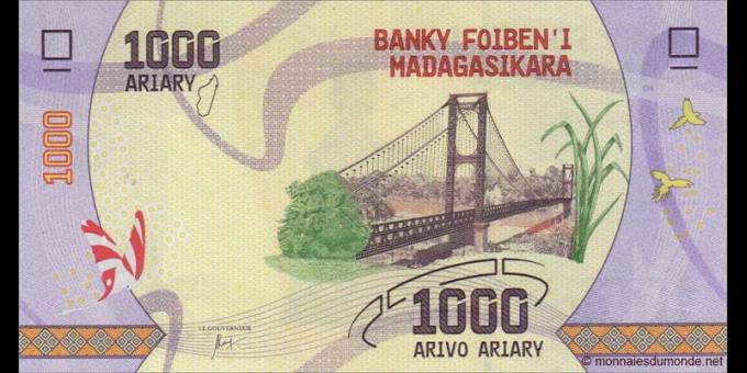 Madagascar - p-100 - 1.000 ariary - ND (2017) - Banky Foiben'i Madagasikara