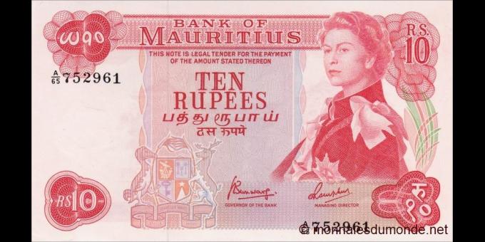 Maurice - p31c - 10 Roupies - ND (1967) - Bank of Mauritius