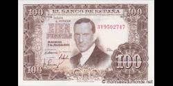 Espagne - p145 - 100Pesetas - 07.04.1953 - Banco de España