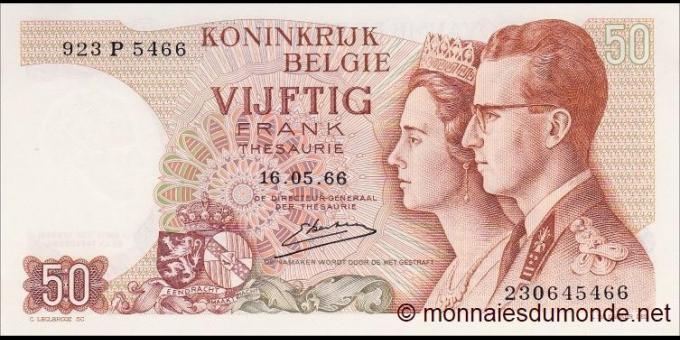 Belgique - p139c - 50 Francs - 16.05.1966 - Royaume de Belgique
