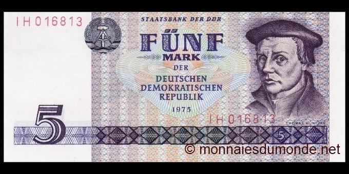 République Démocratique Allemagne - p27a - 5 Mark der DDR - 1975 - Staatsbank der DDR