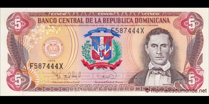 République Dominicaine - p152a - 5 Pesos Oro - 1996 - Banco Central de la República Dominicana