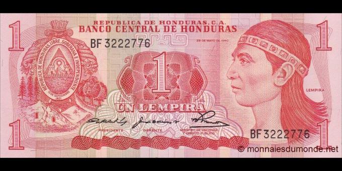 Honduras - p68a - 1 Lempira - 1980 - Banco Central de Honduras