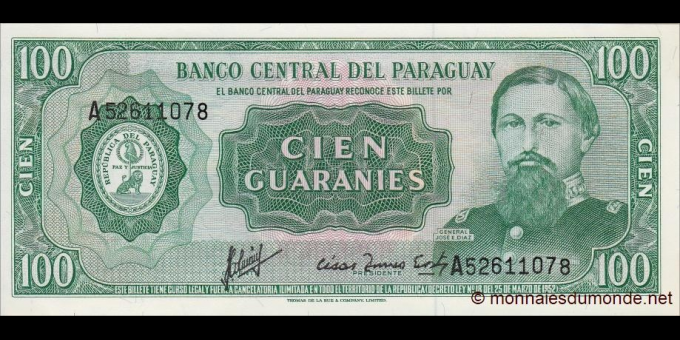 Paraguay - p205a - 100 Guaranies - L. 25.03.1952 (1982) - Banco Central Del Paraguay