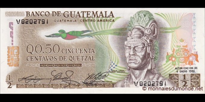 Gatemala - p058c - 1/2 Quetzal - 06.01.1982 - Banco de Guatemala
