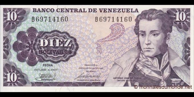 Venezuela - p60 - 10 Bolívares - 6.10.1981 - Banco Central de Venezuela