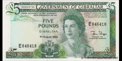 Gibraltar - p21b - 5 Pounds - 04.08.1988 - Government of Gibraltar