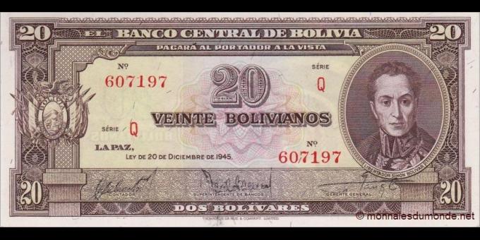 Bolivie - p140e - 20 Bolivianos - L.20.12.1945 - Banco Central de Bolivia