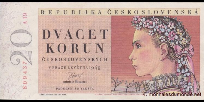 Tchécoslovaquie - p70a - 20 Korun Ceskoslovenských - 1949 - Republika Československá