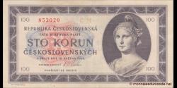 Tchécoslovaquie - p67 - 100 Korun Ceskoslovenských - 1945 - Republika Československá