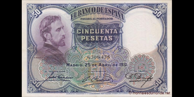 Espagne - p082 - 50Pesetas - 25.04.1931 - Banco de España