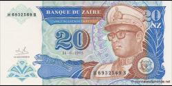 Zaïre - p56 - 20 Nouveaux Zaïres - 24.06.1993 - Banque du Zaïre