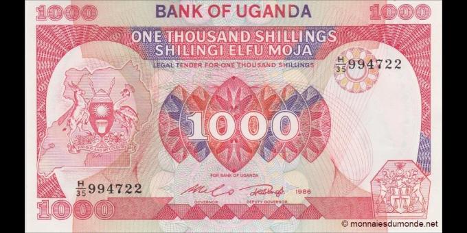 Ouganda - p26 - 1000 Shillings - 1986 - Bank of Uganda