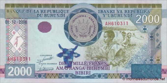 Burundi - p47 - 2 000 Francs - 2008