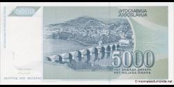 Yougoslavie - p115 - 5.000 Dinara - 1992 - Narodna Banka Jugoslavije