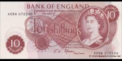 Angleterre - p373c - 10 shillngs - ND (1970) - Bank of England