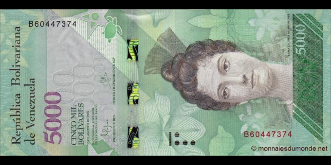 Venezuela - p97a - 5000 Bolívares - 18.08.2016 - Banco Central de Venezuela