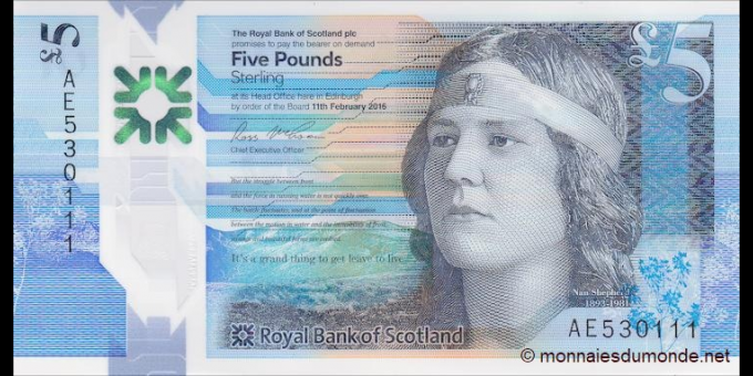 Ecosse - p370 - 5 Pounds Sterling - 11.02.2016 - Royal Bank of Scotland