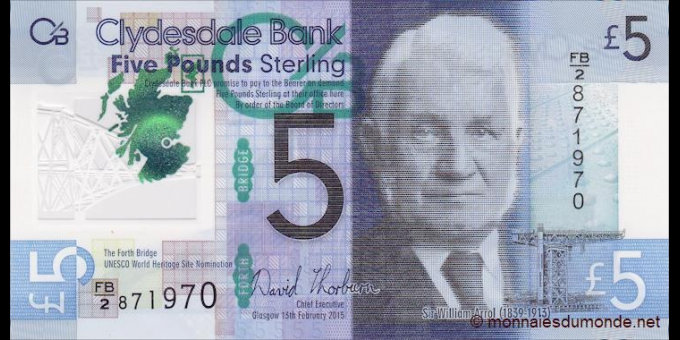 Ecosse - p229N - 5 Pounds Sterling - 13.2.2015 - Clydesdale Bank