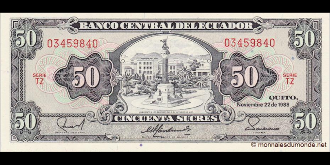 Equateur - p122b - 50 Sucres - 22.11.1988 - Banco Central del Ecuador