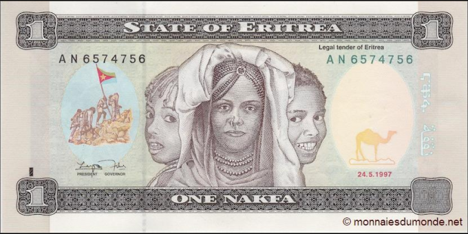 Érythrée - p01 - 1 nakfa - 24.05.1997 - Bank of Eritrea