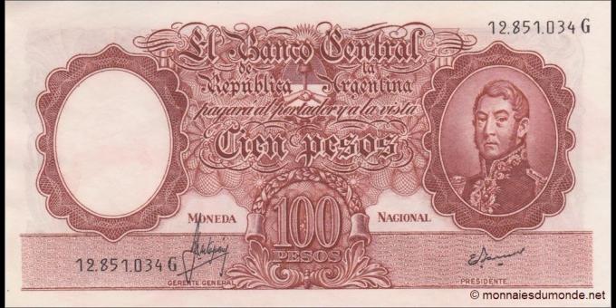 Argentine - p277c - 100pesos - 1967 - Banco Central de la República Argentina