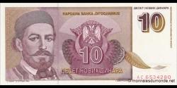 Yougoslavie - p149 - 10Novih Dinara - 03.03.1994 - Narodna Banka Jugoslavije