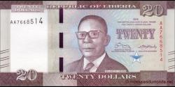Libéria - p33a - 20 dollars - 2016 - Central Bank of Liberia