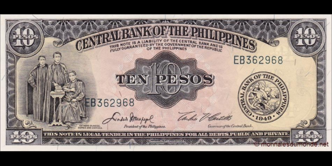 Philippines - p136e - 10 Pesos - ND (1949 - 1969) - Central Bank of the Philippines