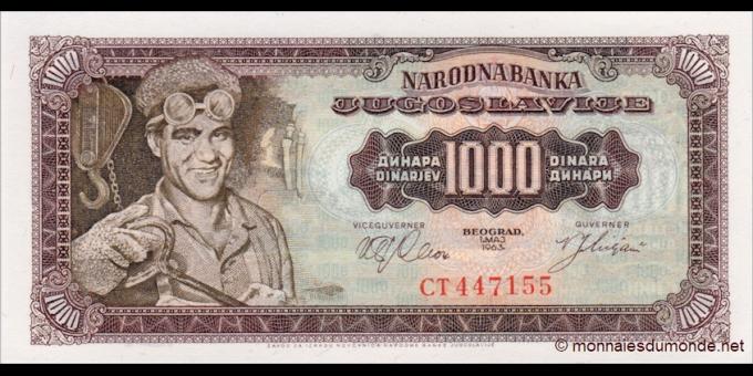 Yougoslavie - p075 - 1 000Dinara - 01.05.1963