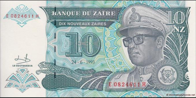 Zaire - p55 - 10 Nouveaux Zaïres - 24.06.1993 - Banque du Zaïre